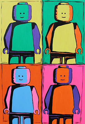 Wall Art - Painting - Lego Pop Art Man by Kaz Innes