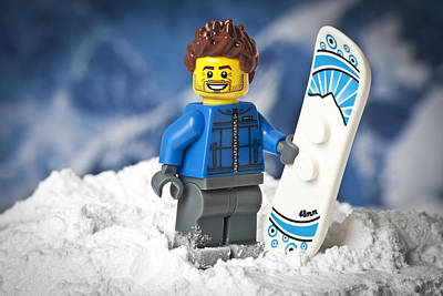 Lego Snowboarder Art Print by Samuel Whitton