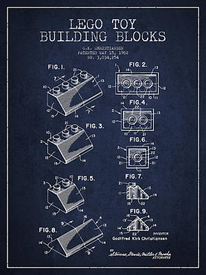 Lego Toy Building Blocks Patent - Navy Blue Art Print by Aged Pixel