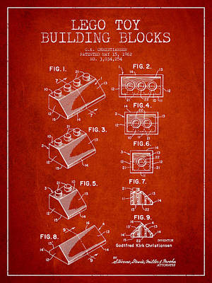 Lego Patent Digital Art - Lego Toy Building Blocks Patent - Red by Aged Pixel