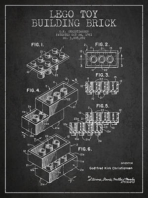 Lego Drawing - Lego Toy Building Brick Patent - Dark by Aged Pixel