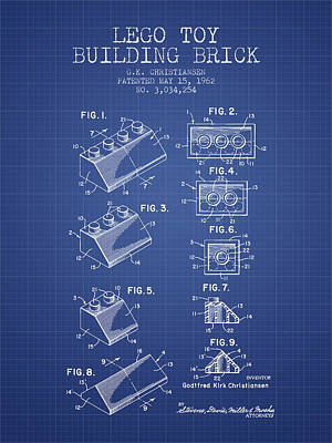 Lego Toy Building Brick Patent From 1962 - Blueprint Art Print