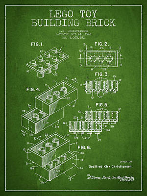 Toys Digital Art - Lego Toy Building Brick Patent - Green by Aged Pixel