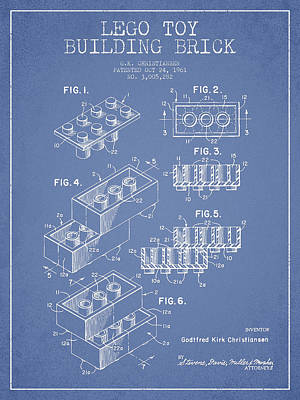 Lego Drawing - Lego Toy Building Brick Patent - Light Blue by Aged Pixel