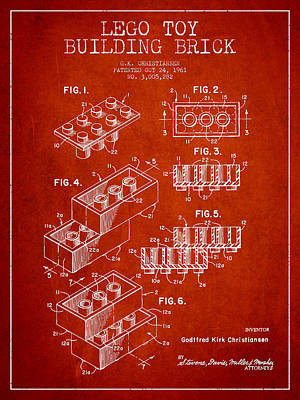 Lego Toy Building Brick Patent - Red Art Print by Aged Pixel