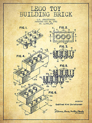 Toy Drawing - Lego Toy Building Brick Patent - Vintage by Aged Pixel