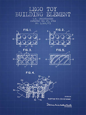 Lego Toy Building Element Patent From 1964 - Blueprint Art Print