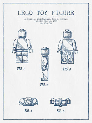 Ink Drawing Digital Art - Lego Toy Figure Patent - Blue Ink by Aged Pixel