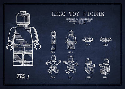 Technical Digital Art - Lego Toy Figure Patent Drawing by Aged Pixel
