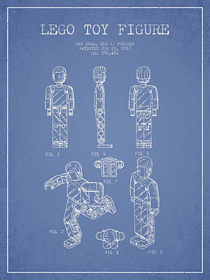 Science Fiction Royalty-Free and Rights-Managed Images - Lego Toy Figure Patent - Light Blue by Aged Pixel