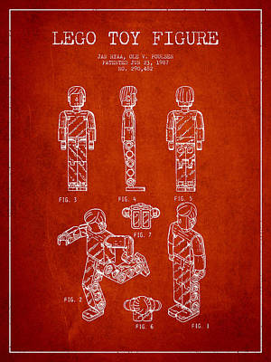 Lego Toy Figure Patent - Red Art Print by Aged Pixel