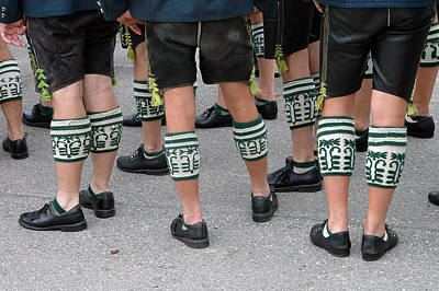 Photograph - Legs Of Men With Traditional Bavarian Half Stockings by Angela Kail
