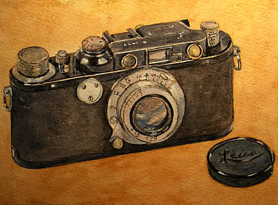 Camera Art Painting - Leica II Camera by Juan  Bosco