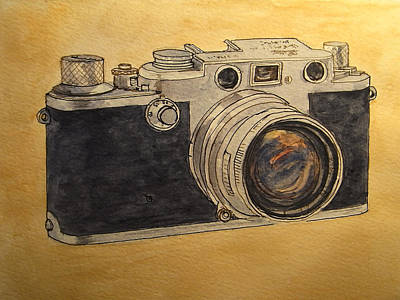 Camera Art Painting - Leica IIif by Juan  Bosco