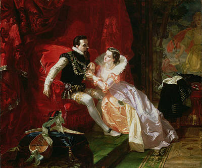 Lute Painting - Leicester And Amy Robsart At Cumnor by Edward Matthew Ward