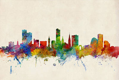 Great Britain Digital Art - Leicester England Skyline by Michael Tompsett