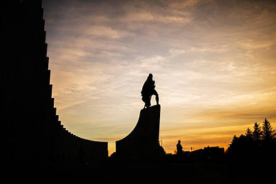 Leif Photograph - Leif Ericsson Statue By Hallgrimskirkja by Panoramic Images