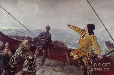 Leif Painting - Leif Erikson Discovering America by Christian Krohg