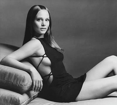 1969 Photograph - Leigh Taylor-young Wearing A Maggi Browning Dress by Gianni Penati