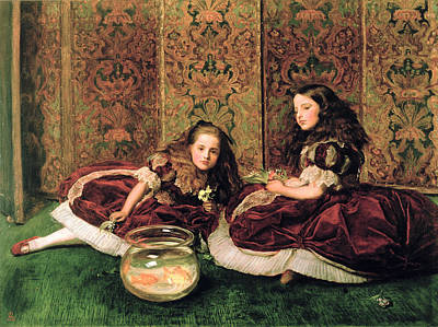 Sisters Painting - Leisure Hours by Sir John Everett Millais
