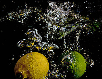 Art Print featuring the digital art Lemon And Lime Splash by John Hoey