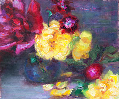Painting - Lemon And Magenta - Flowers And Radish by Talya Johnson