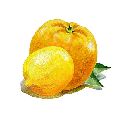Sour Painting - Lemon And Orange Happy Couple by Irina Sztukowski