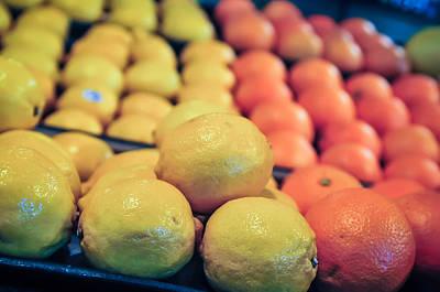 Photograph - Lemon And Oranges On Produce Shelf by Alex Grichenko