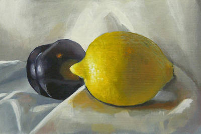 Lemon And Plum Art Print by Peter Orrock