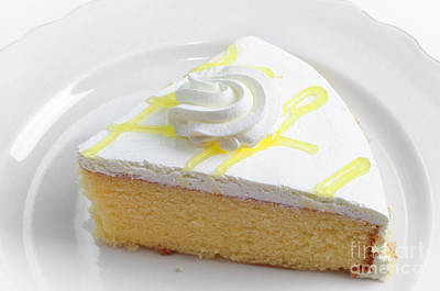Andee Design White Photograph - Lemon Chiffon Cake Slice by Andee Design