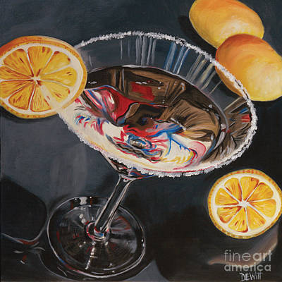 Martini Painting - Lemon Drop by Debbie DeWitt
