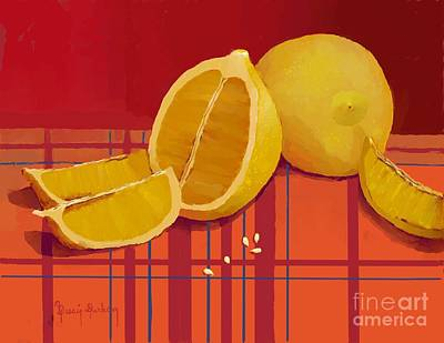Table Cloth Digital Art - Lemon Family With Seeds by Dessie Durham