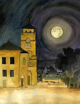 Painting - Lemon Grove Church By Full Moon by Brian Meyer