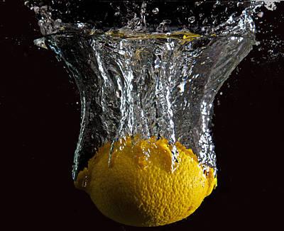Art Print featuring the digital art Lemon Splash by John Hoey