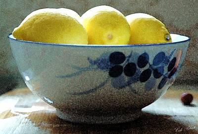Faa Artist Drawing - Lemon Still Life by Cole Black