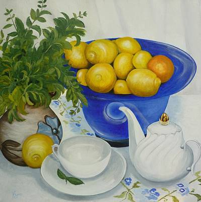 Teapot Painting - Lemon Tea by Helen Syron