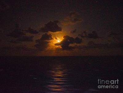 Photograph - Lemon Wedge Of Moon Over Caribbean by Janette Boyd