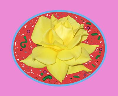 Digital Art - Lemon Yellow Rose by Good Taste Art
