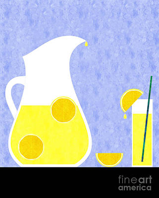 Lemon Digital Art - Lemonade And Glass Blue by Andee Design