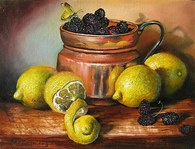 Lemons And Berries Art Print