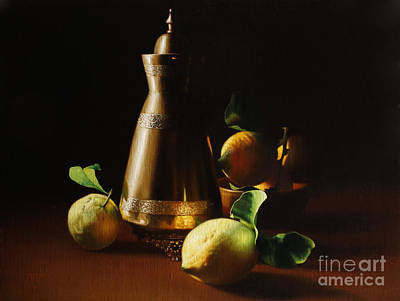 Painting - Lemons and brass vase by Peter Thomas Foster