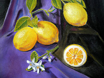 Lemon Painting - Lemons And Flowers by Irina Sztukowski