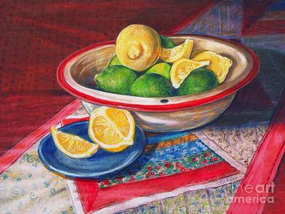 Table Cloth Drawing - Lemons And Limes by Joy Nichols