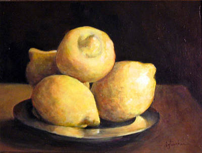 Classical Realism Painting - Lemons by Donna Tucker