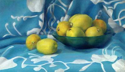 Lemons In A Green Glass Bowl On Blue And White Cloth Original by Catherine Considine