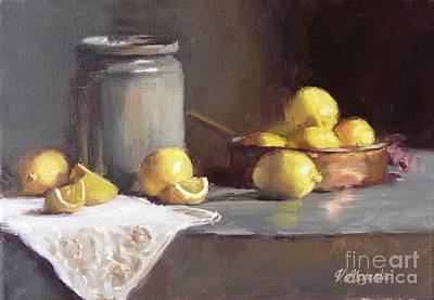 Green Painting - Lemons In Copper Pan  by Viktoria K Majestic