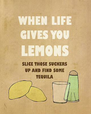 Tequila Painting - Lemons by Lisa Barbero