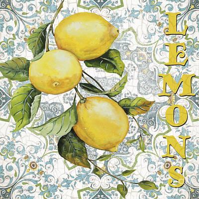 Lemon Painting - Lemons On Damask by Jean Plout