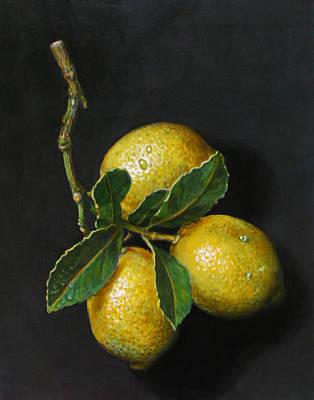 Lemon Drops Painting - Lemons On Slate by Paul Herman