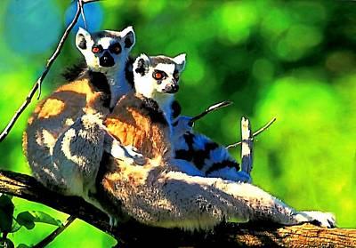Digital Art - Lemur Love by Carrie OBrien Sibley